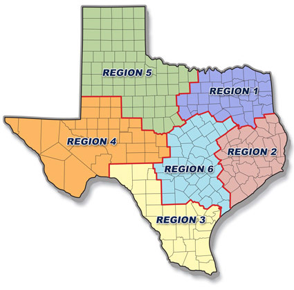 TxDPS - Resilience Instructors by Region Map