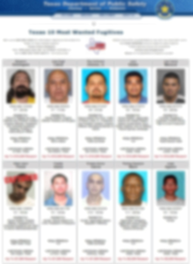 Texas 10 Most Wanted Fugitives Page
