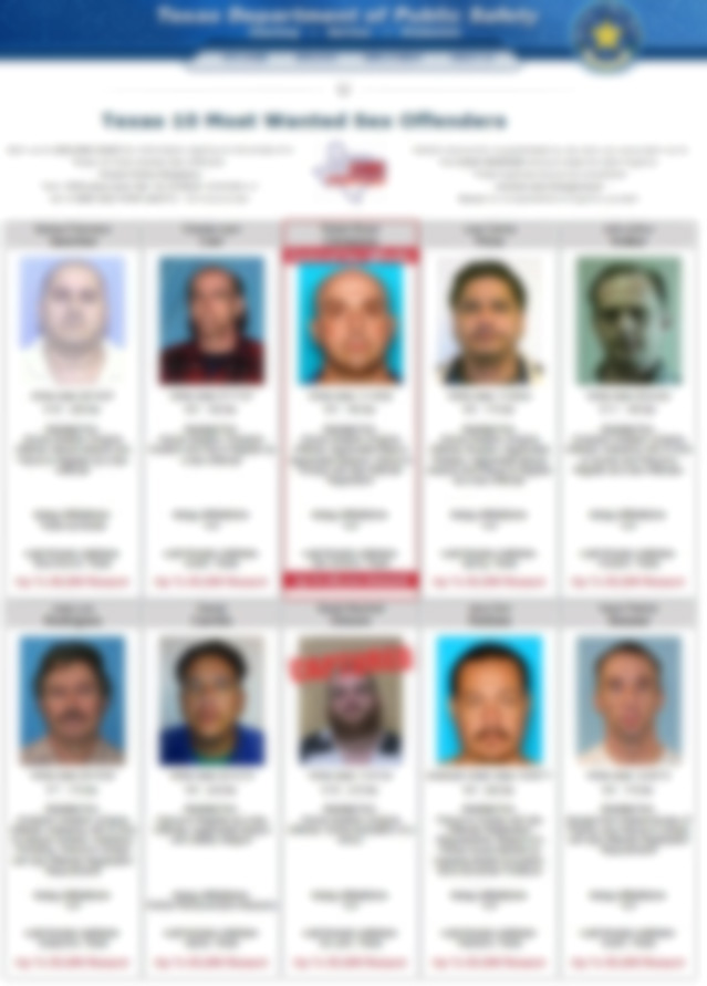 Texas 10 Most Wanted Sex Offenders Page